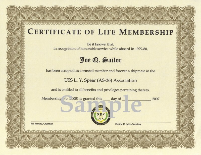 Uss l y spear as 36 association association membership for Life membership certificate templates